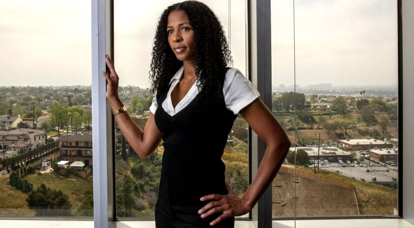 LOS ANGELES, CALIF. -- FRIDAY, APRIL 26, 2019: Former USC heptathlete Nicole Haynes sits for portrai