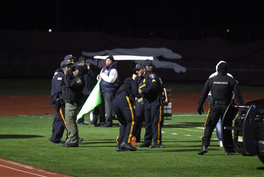 High school football game shooting
