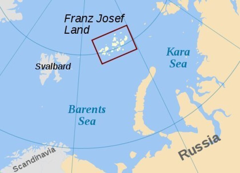 Franz Josef Land is more than 7,000 miles from San Diego.