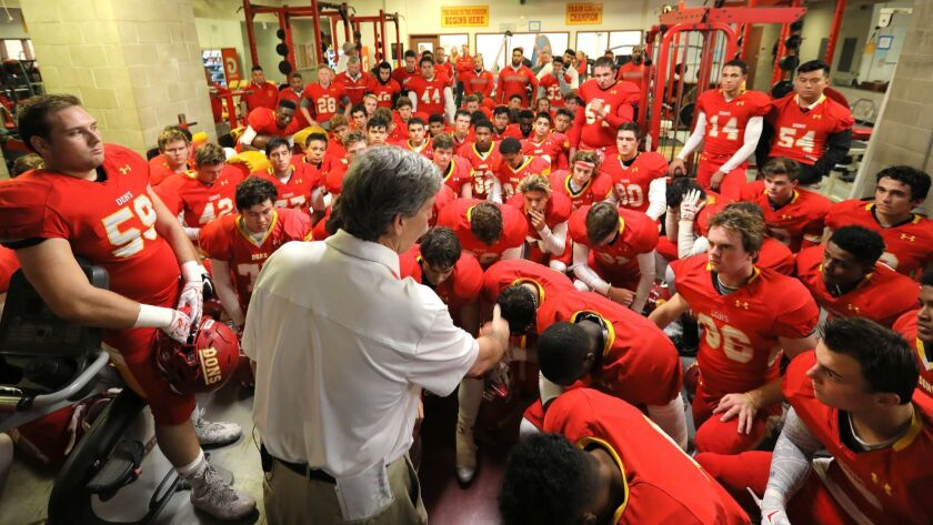 Cathedral Catholic coach Sean Doyle addressed his team before a game. The Dons moved up to No. 2 in the rankings, behind only No. 1 Torrey Pines.