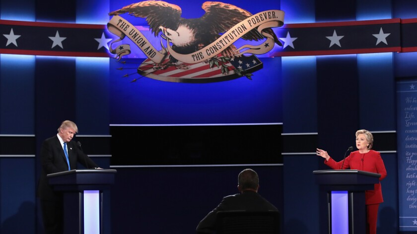 Donald Trump, Hillary Clinton and moderator Lester Holt at the first presidential debate in 2016.