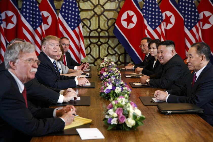 President Donald J. Trump during a meeting with North Korean leader Kim Jong Un on February 28, 2019, in Hanoi. — Photograph: Evan Vucci/Associated Press.