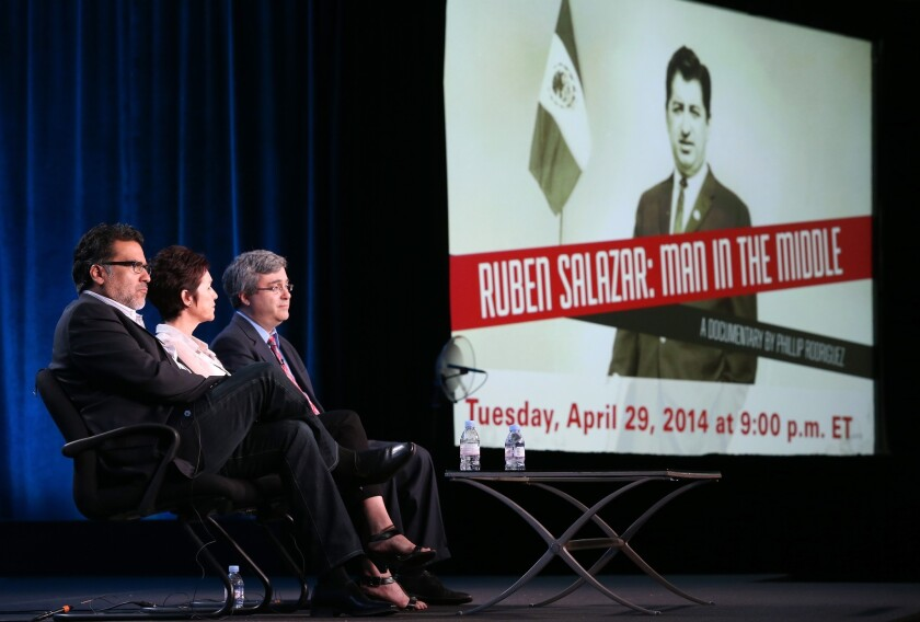 "Producer and director Phillip Rodriguez, Stephanie Salazar Cook (daughter of Ruben Salazar) and Thomas Saenz, president and general counsel of the Mexican American Legal Defense and Education Fund, speak onstage during the ""Ruben Salazar: Man in the Middle"" panel discussion at the PBS portion of the 2014 Winter Television Critics Assn. tour."