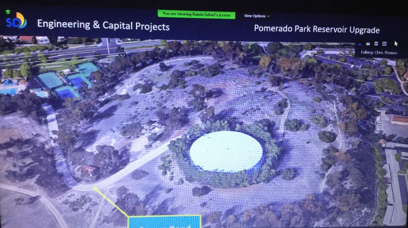 Pomerado Park Reservoir (white circle) slated for a $4.2 million renovation starting in July 2021 to extend its useful life.