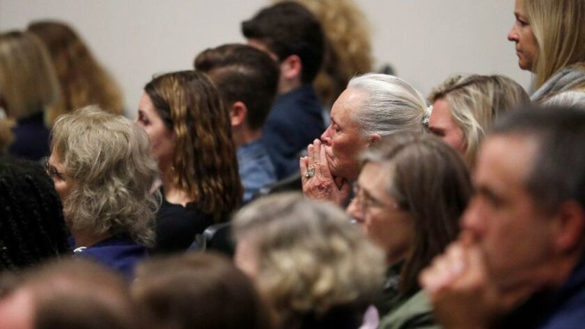 Parents, students and community members attend a crowded meeting at Newport Harbor High School on March 4 about the photos and video showing students giving the Nazi salute.