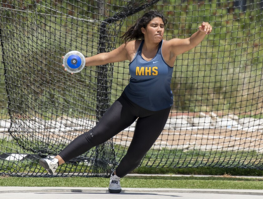 Marina's Alejandra Rosales competes in the discus throw during the CIF Southern Section Masters Meet at El Camino College on May 18.