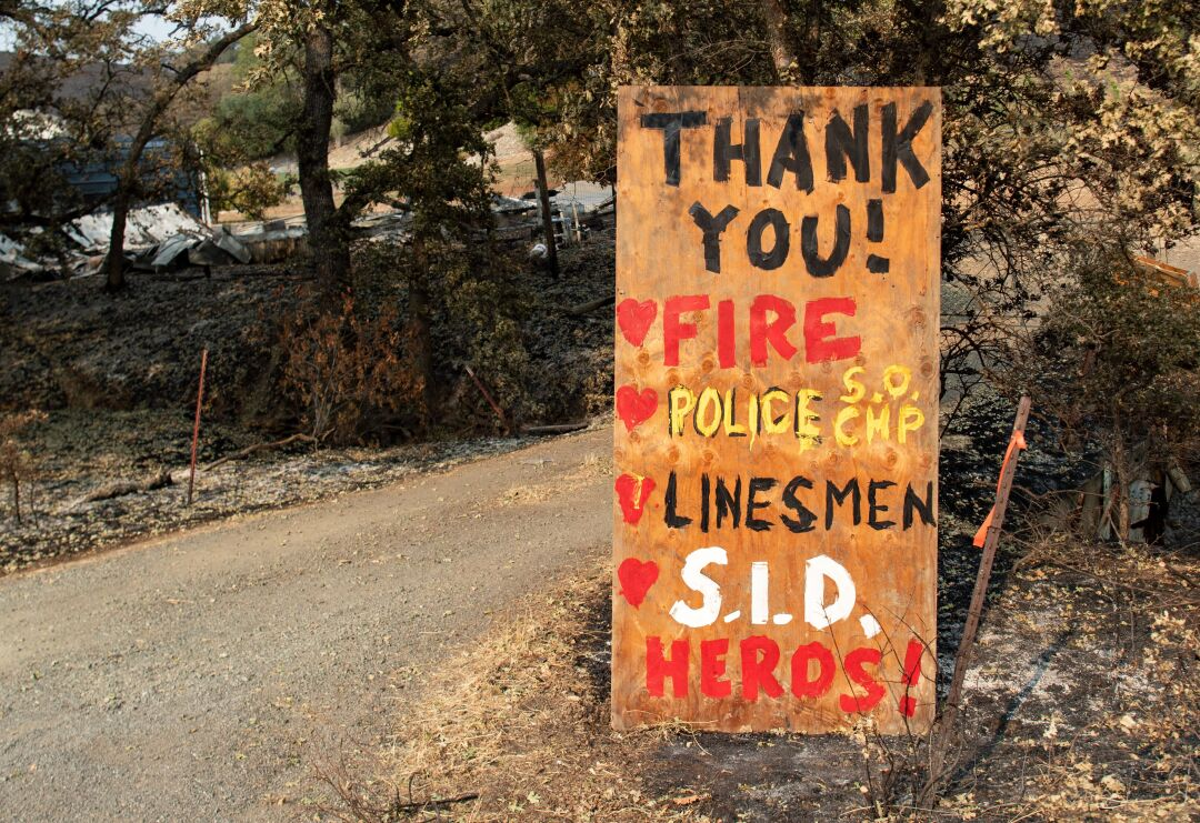 A sign thanks first responders in Bucktown, Calif.