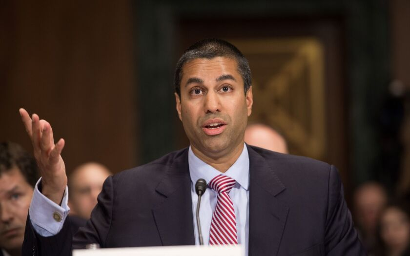 Ajit Pai, chairman of the Federal Communications Commission, testifies before a Senate committee in 2016.