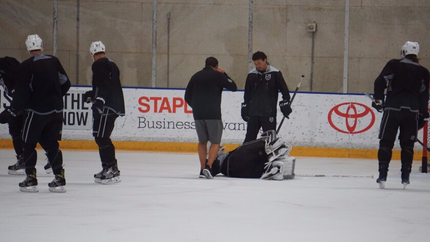 The Kings No. 2 goaltender, Jeff Zatkoff, was hurt during the morning skate and had to be helped off the ice.