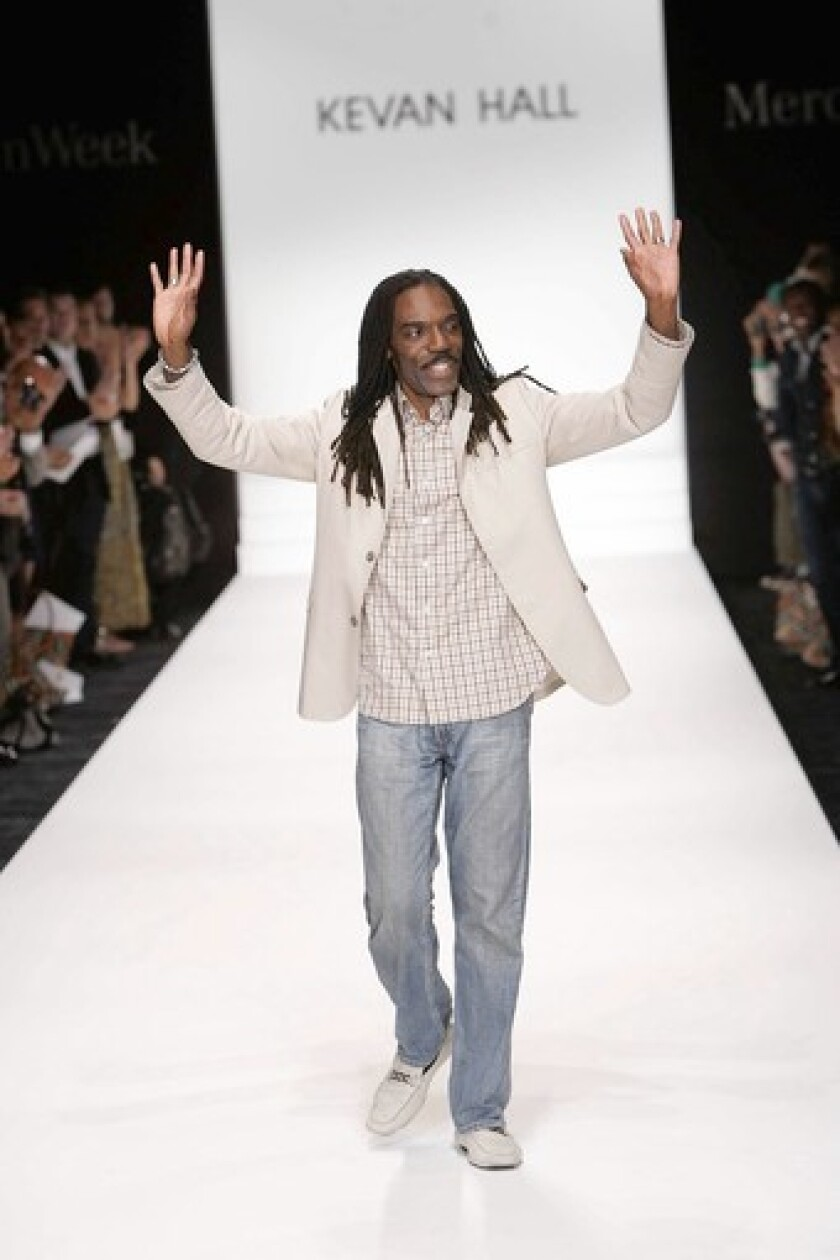 Fashion designer Kevan Hall on the runway
