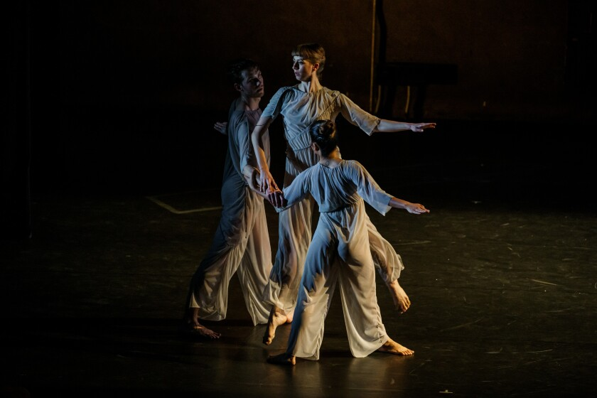 """T.S. Eliot's """"Four Quartets"""" read by Kathleen Chalfant, with music composed by Kaija Saariaho, choreography by Pam Tanowitz and design by Brice Marden at UCLA."""