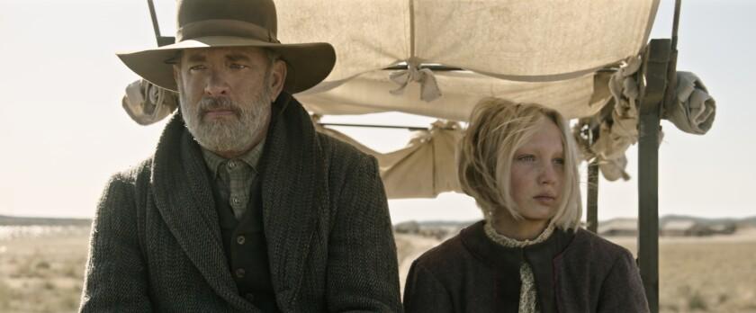 (from left) Captain Jefferson Kyle Kidd (Tom Hanks) and Johanna Leonberger (Helena Zengel)