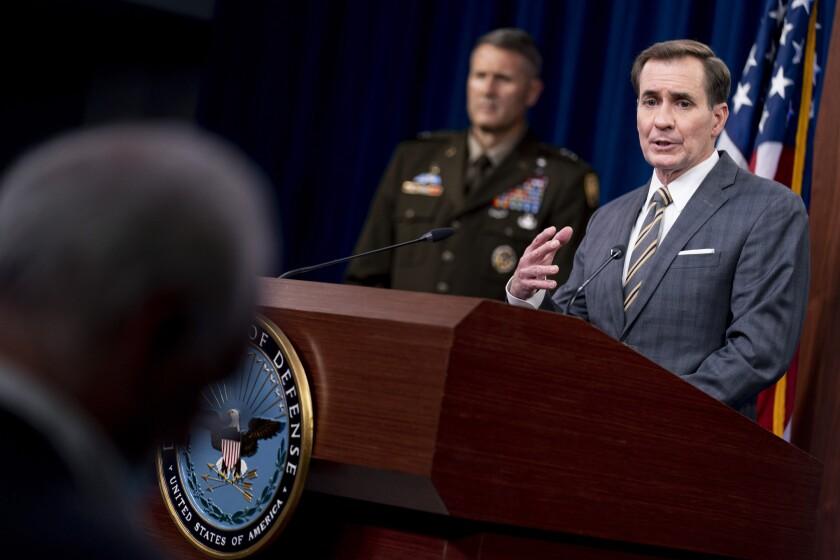 Pentagon spokesman John Kirby speaks during a briefing.