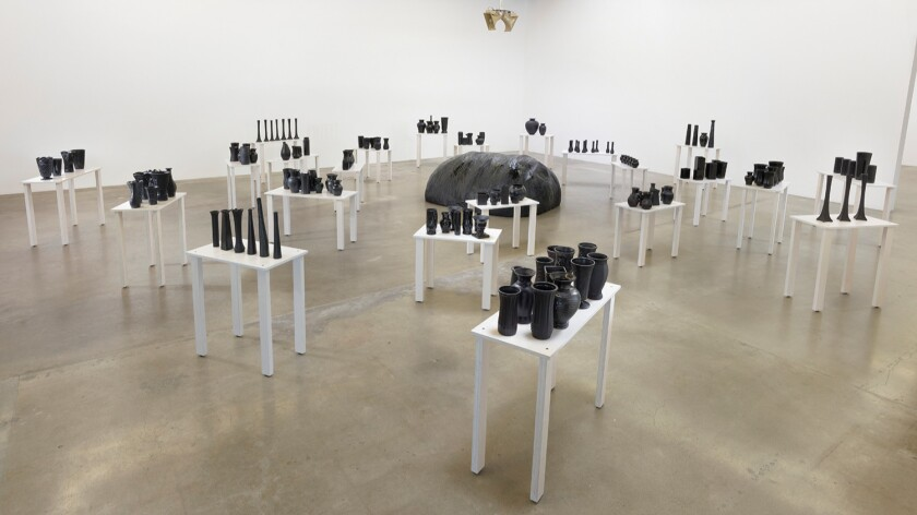 """Rodney McMillian's """"Chisholm's reverb,"""" installation view, 2016, at Susanne Vielmetter Los Angeles Projects."""