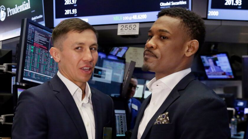 Daniel Jacobs, right, and Gennady Golovkin before their 2017 fight.