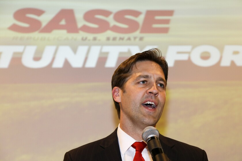 Ben Sasse addresses supporters in Lincoln, Neb., in November 2014, after winning a seat in the U.S. Senate.
