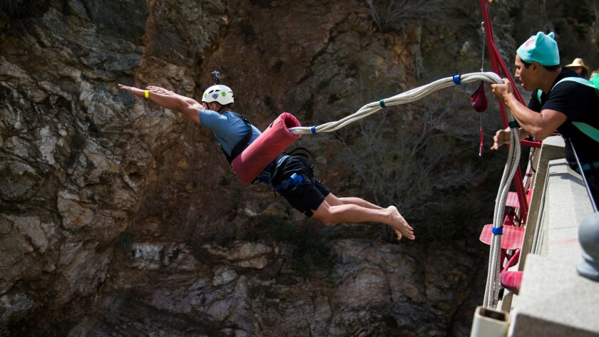 Jason Kuizon, of San Dimas bungee jumps off the Bridge To Nowhere on October 16, 2016  in San Gabriel Mountains.