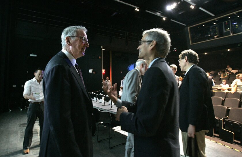Irwin Jacobs, left, spoke with Ramesh Rao. director of the UCSD branch of the California Institute for Telecommunications and Information Technology (Calit2) at an Internet symposium Thursday on the UCSD campus.