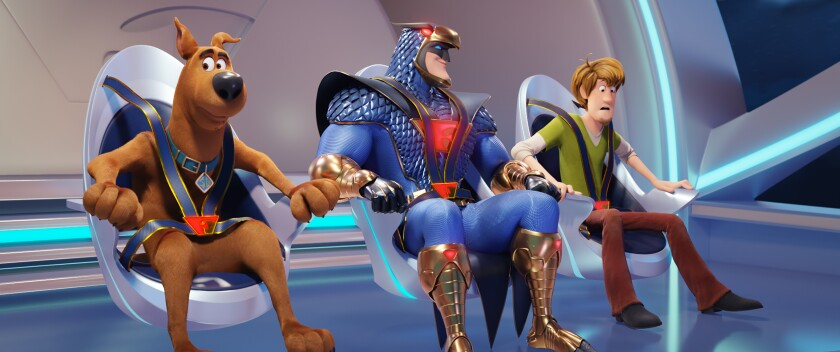 """Scooby-Doo (voiced by Frank Welker), Blue Falcon (Mark Wahlberg) and Shaggy (Will Forte) in the movie """"Scoob!"""""""