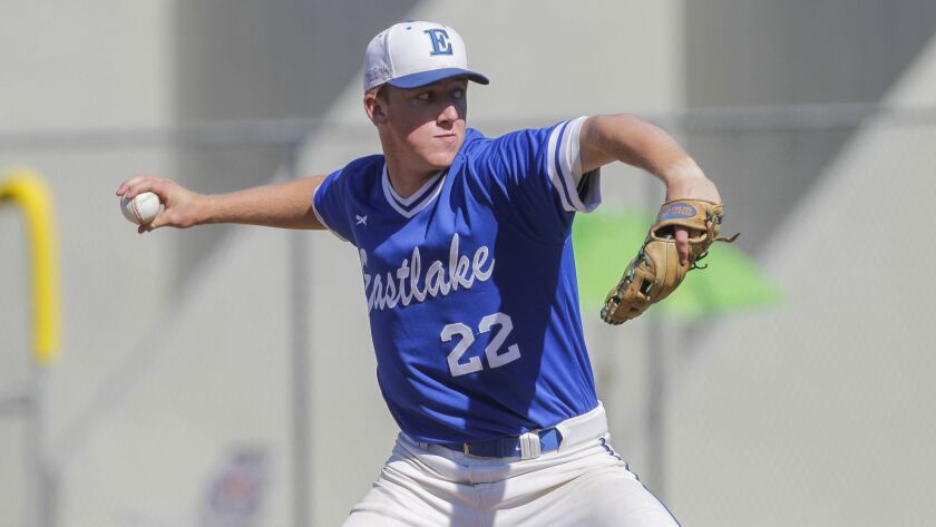 CHULA VISTA, May 24, 2017   Eastlake's Grant Holman pitches to Madison during the San Diego Section