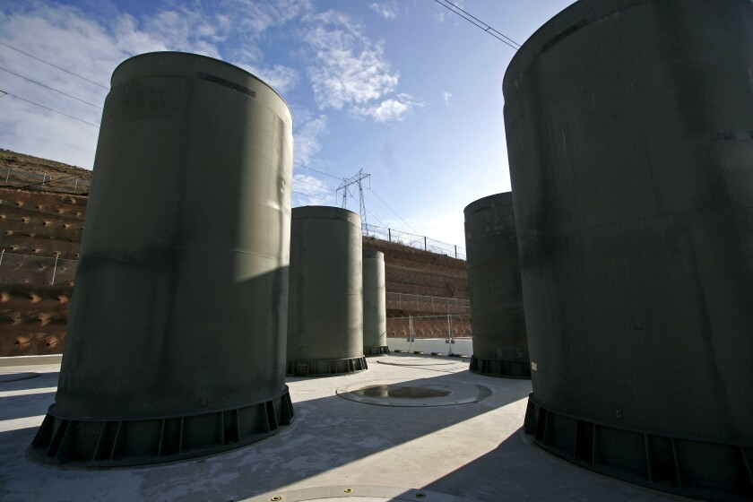 These aboveground casks at the Diablo Canyon nuclear plant, seen in 2008, were built to house radioactive waste.