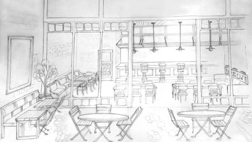 A rendering of Manuela, the restaurant at the Hauser Wirth & Schimmel arts complex in downtown Los Angeles. The restaurant is scheduled to open sometime this summer.