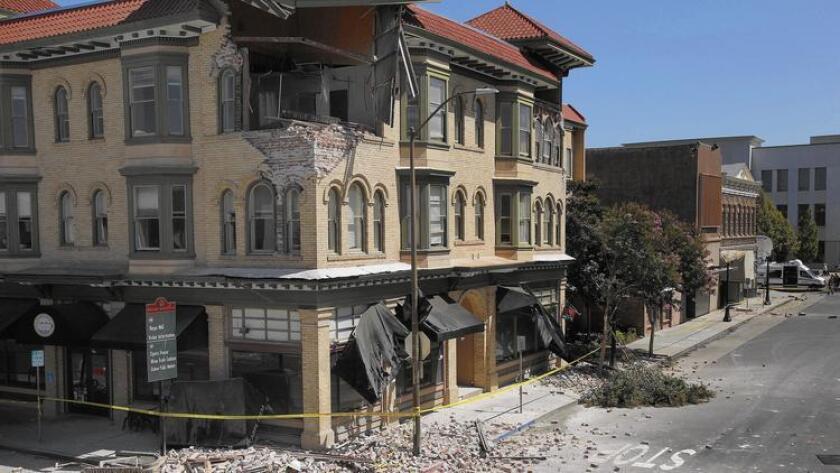 Imagen del daño causado en el downtown de Napa por el temblor de magnitud de 6 grados que sacudió el área en agosto de 2014.
