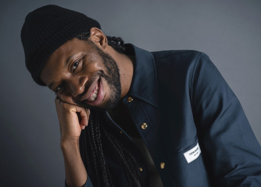 """This Sept. 17, 2019 photo shows playwright Jeremy O. Harris posing in New York to promote his Broadway debut """"Slave Play."""" (Photo by Christopher Smith/Invision/AP)"""