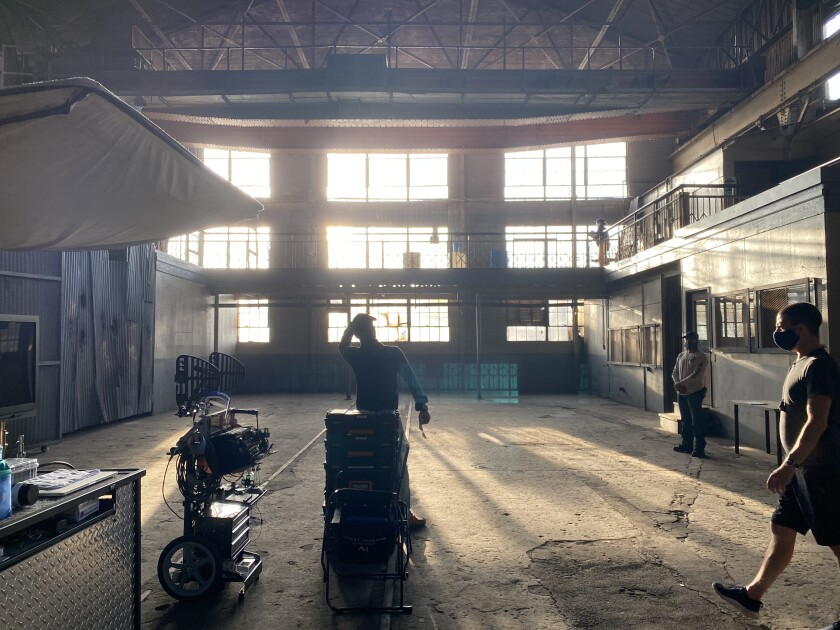 "The set of ""Songbird,"" a thriller about the pandemic shot in Los Angeles this month."