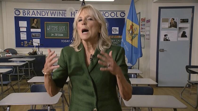 Jill Biden speaks in a classroom in Brandywine High School in Wilmington, Del., where she once taught English.