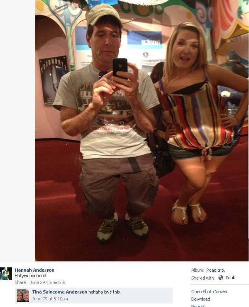 This picture of DiMaggio and Hannah Anderson  taken on a trip to Hollywood was on her Facebook page Tuesday morning but it has since been taken down. Anderson's  mother  had commented on the photo.