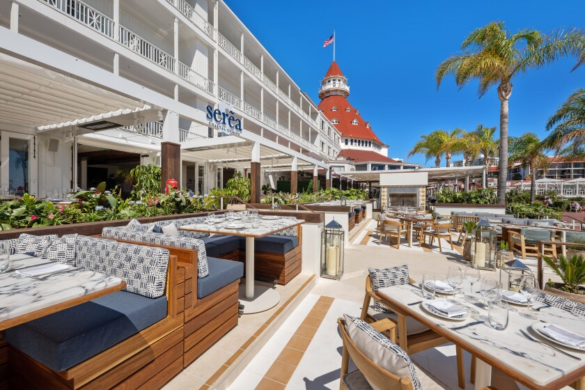 The multi-level patio of Serea, where 60 percent of the restaurant's seating is outdoors — to make the most of the Hotel del Coronado's iconic setting.