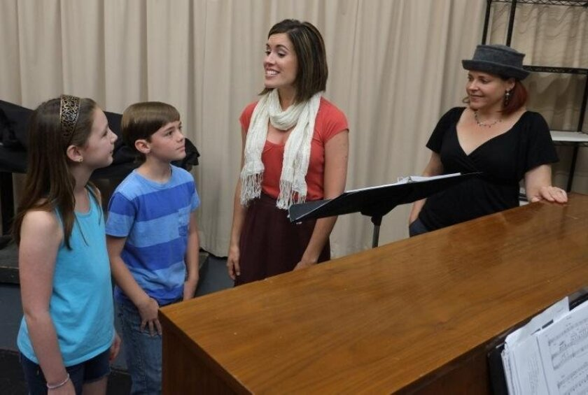 """Abby DeSpain, Nate Carman, Jessica Bernard and Bets Malone (left to right) rehearse a scene from Moonlight's """"Mary Poppins."""""""