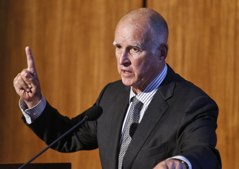 California Gov. Jerry Brown speaks at the Carbon Neutrality Initiative on the campus of UC San Diego on Oct. 27.