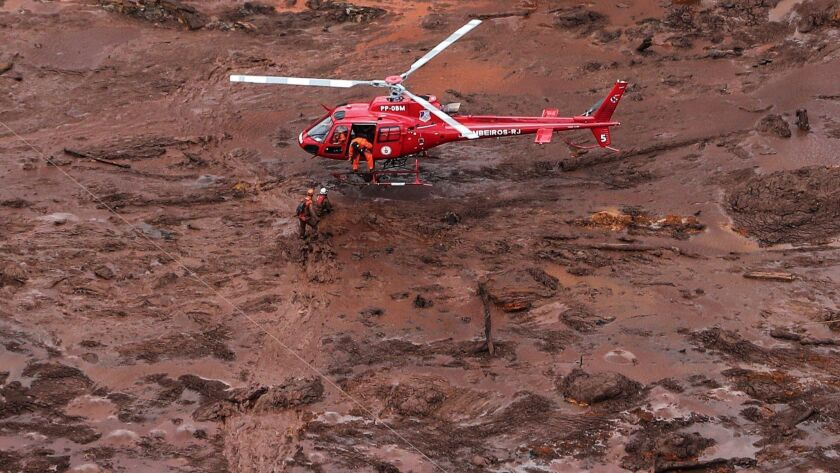 An aerial view of the mud and waste left by the disaster caused by the collapse of a dam in Brumadinho, Brazil, on Saturday.