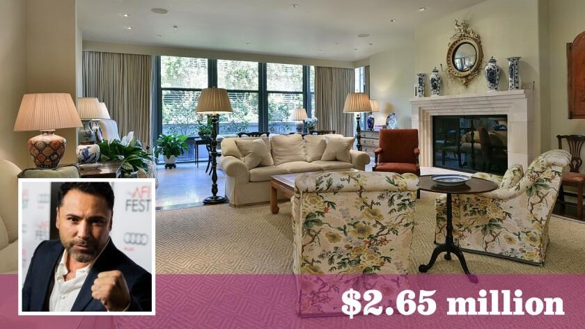Boxing great Oscar De La Hoya has paid $2.65 million for a condo at the Montana in Pasadena.