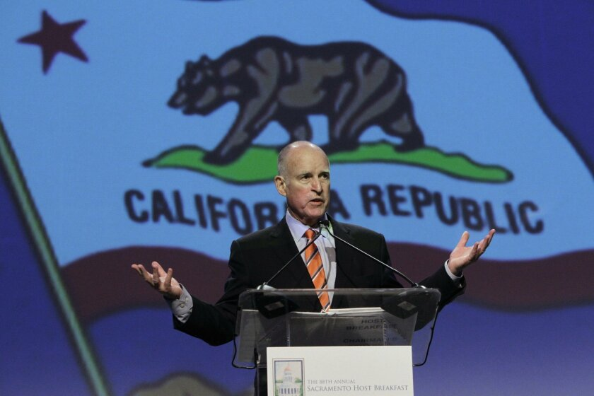 FILE -- In this Wednesday, May 22, 2013 file photo, Gov. Jerry Brown speaks in Sacramento. Brown said California has solved a lot of problems, like balancing the state budget, while speaking before a gathering of business leaders at the California Chamber of Commerce's  88th Annual Sacramento Host