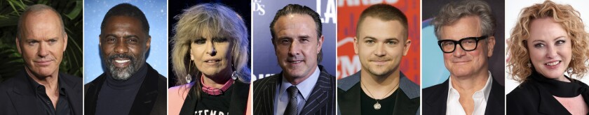 This combination photo of celebrities with birthdays from Sept. 5-11 shows Michael Keaton, from left, Idris Elba, Chrissie Hynde David Arquette, Hunter Hayes, Colin Firth and Virginia Madsen. (AP Photo)