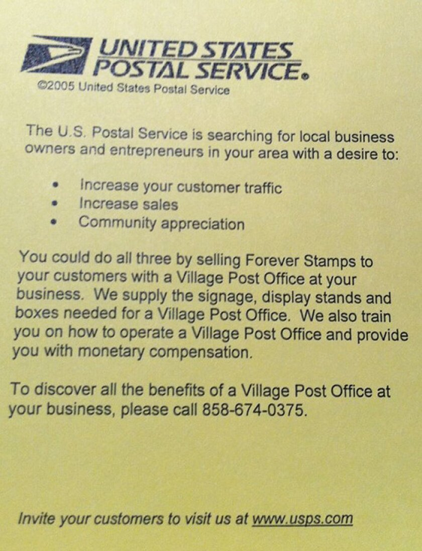 The United States Postal Service mailed this notice was mailed to la Jolla merchants earlier this month.