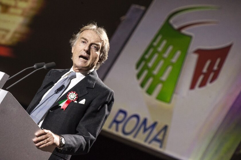 Rome 2024 Olympic bid committee chairman Luca Cordero di Montezemolo speaks during the presentation of Rome's bid to stage the 2024 Olympics, in Rome, Wednesday, Feb 17, 2016, the same day the initial bid dossier was submitted to the International Olympic Committee. At an extravagant presentation W