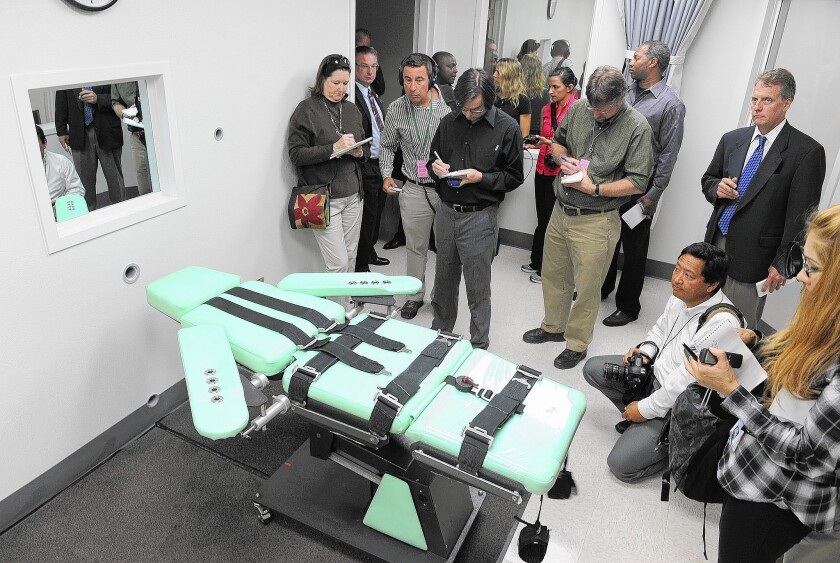 Media representatives get a look at the new death chamber at San Quentin State Prison in 2010. It has yet to be used due to various court rulings.