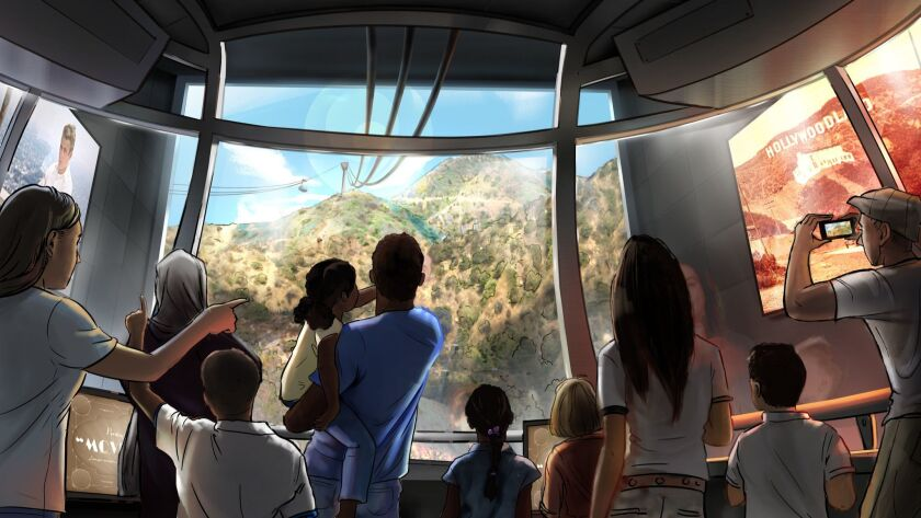 Artist rendering depicts the vantage point from inside one of the aerial trams as it travels toward the top of Mt. Lee and the Hollywood sign.