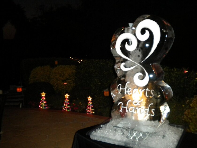 An ice sculpture/martini luge at the 2010 holiday event honoring the volunteer doulas at the UCSD Medical Center.