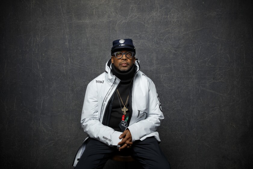 """Spike Lee, director of the film """"Michael Jackson's Journey from Motown to Off the Wall"""" in the L.A. Times photo & video studio Jan. 23 at the Sundance Film Festival."""