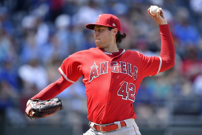 The Angels' Tyler Skaggs throws the ball.