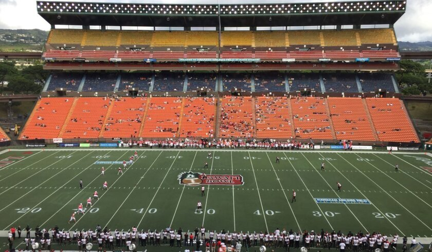 The stands were all but empty at Aloha Stadium when kickoff came for the Aloha Bowl.
