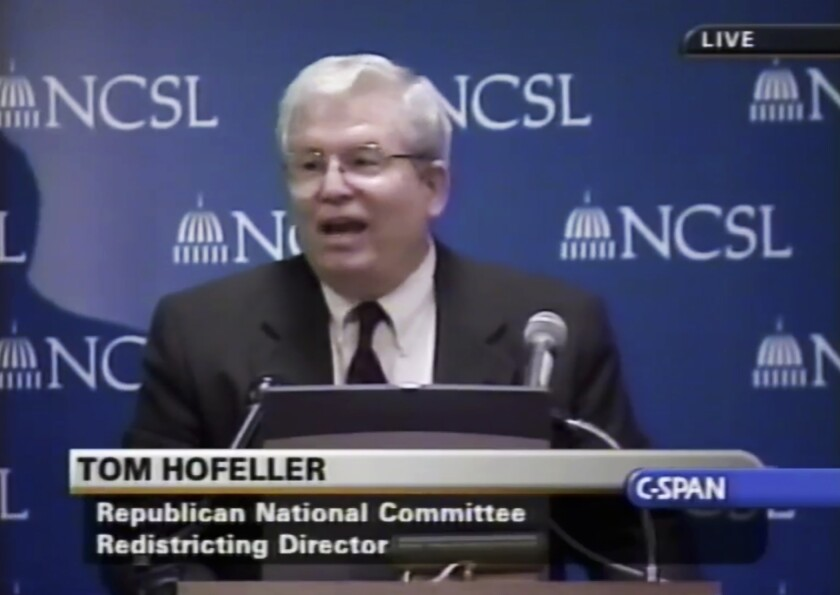 FILE - In this Aug. 13, 2001, file frame from video provided by C-SPAN, Tom Hofeller speaks during an event at the Republican National Committee in Washington. A North Carolina judge ruled on Monday, Nov. 4, 2019, that more than 100,000 computer documents generated by recently deceased Republican redistricting guru Hofeller that address political work in several states are no longer under the court's confidentiality order. (C-SPAN via AP, File)