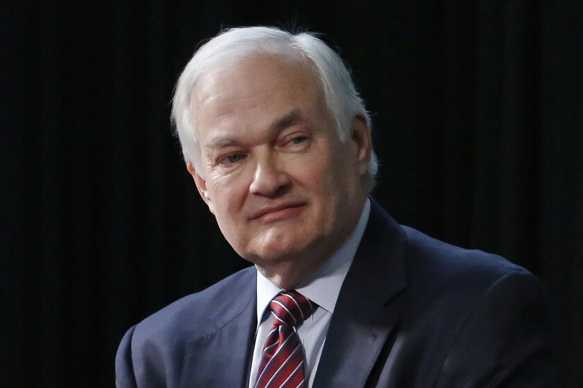 FILE -NHL Players' Association Executive Director Donald Fehr listens during a press conference in Columbus, Ohio, Jan. 24, 2015. Given the uncertainty professional hockey faced in placing its season on pause in mid-March, Fehr couldn't have envisioned a better resumption of play five months later with the first round of the playoffs getting underway. (AP Photo/Gene J. Puskar, File)