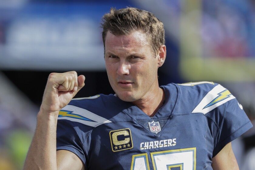 Chargers quarterback Philip Rivers gestures during a win over the Buffalo Bills in September.