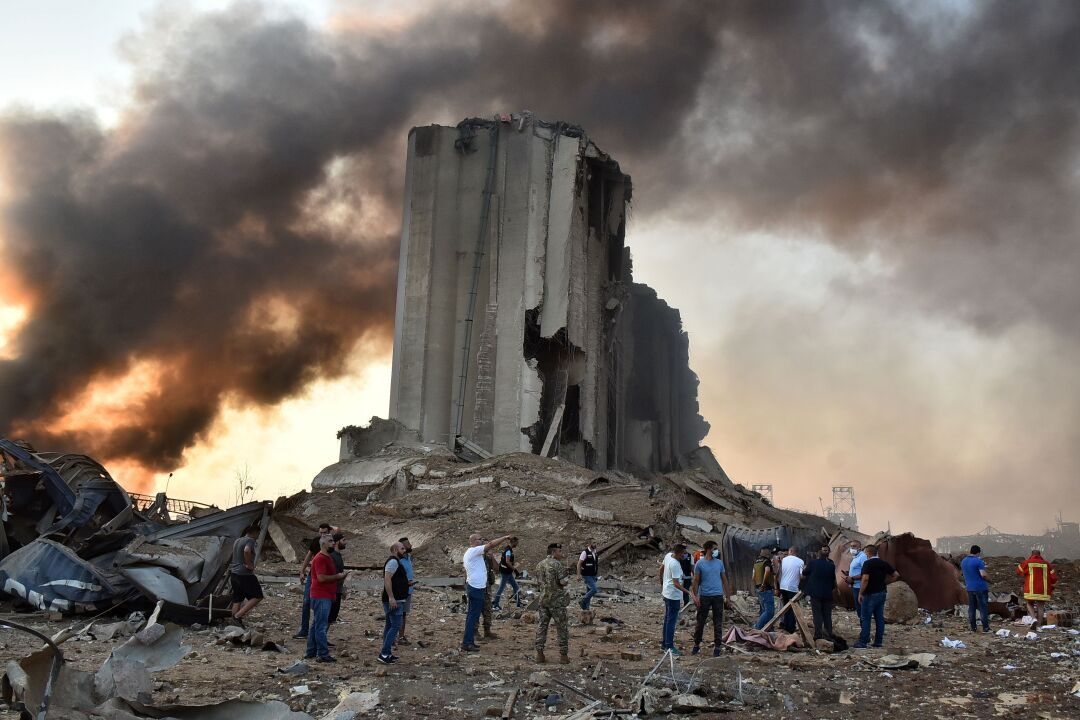 A destroyed silo at the port in Beirut